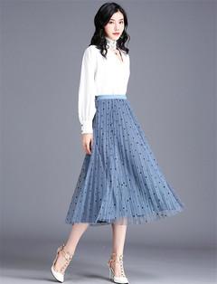 Women Ladies Wave dot pattern net yarn A-shaped 100-fold long skirt blue average