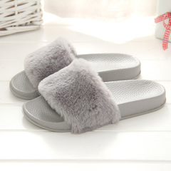 New shoes women shoes ladies shoes wool slippers fashion home  wear flip-flops plush slippers gray 36