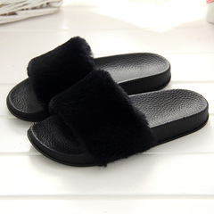 Shoes for women 2019 new wool slippers ladies fashion indoor outdoor wear with flip-flops plush flat black 40