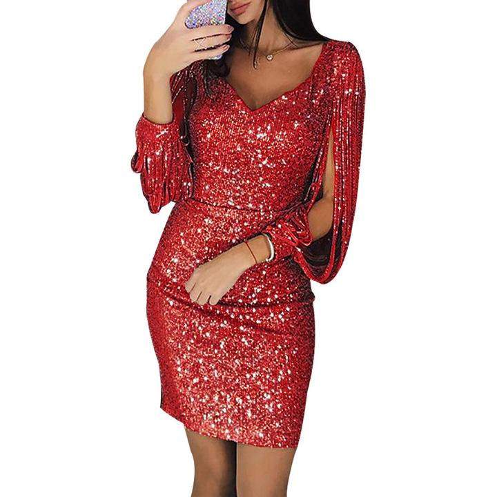 New dresses women skirt fashion V-neck tassel slim dress party pencil Tassels dress Plus Size s red