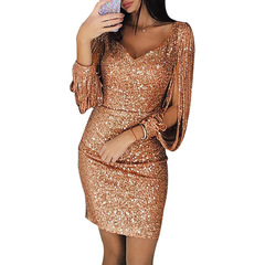 New dresses women skirt fashion V-neck tassel slim dress party pencil Tassels dress Plus Size s Rose gold