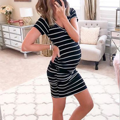 2019 Summer Fashion Pregnancy Stripes Dress Maternity Wear Cotton Sleep Dress(S~XXL) black s