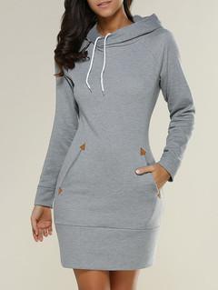 Dresses for women fashion hooded zipper fleece solid color High round collar Long sleeve dress xxl gray