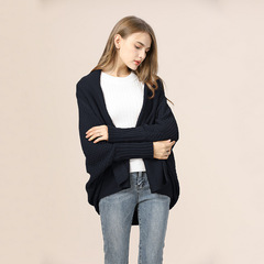 2019 Women New Fashion knitting solid color bat-sleeve long knit cardigan black one size