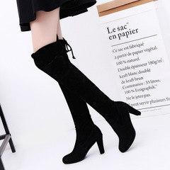 Shoes Women  Over Knee High Boot Lace Up Sexy High Heel Faux Suede Long Thigh Boots Ladies Shoes gray 38