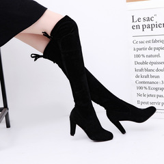 Shoes Women  Over Knee High Boot Lace Up Sexy High Heel Faux Suede Long Thigh Boots Ladies Shoes black 35