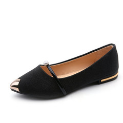 Shoes for women Flat Casual Shoes pointed toes pearls shallow tops flat heels and loafers black 39