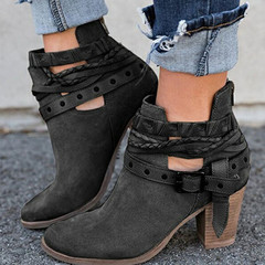 Shoes for Women Boots Fashion Casual Martin boots Leather Buckle medium coarse heel ankle boots gray 40