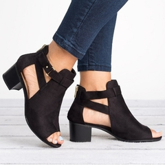 Shoes for women heels shoes ladies Fish mouth buckle sandals for lady black 40