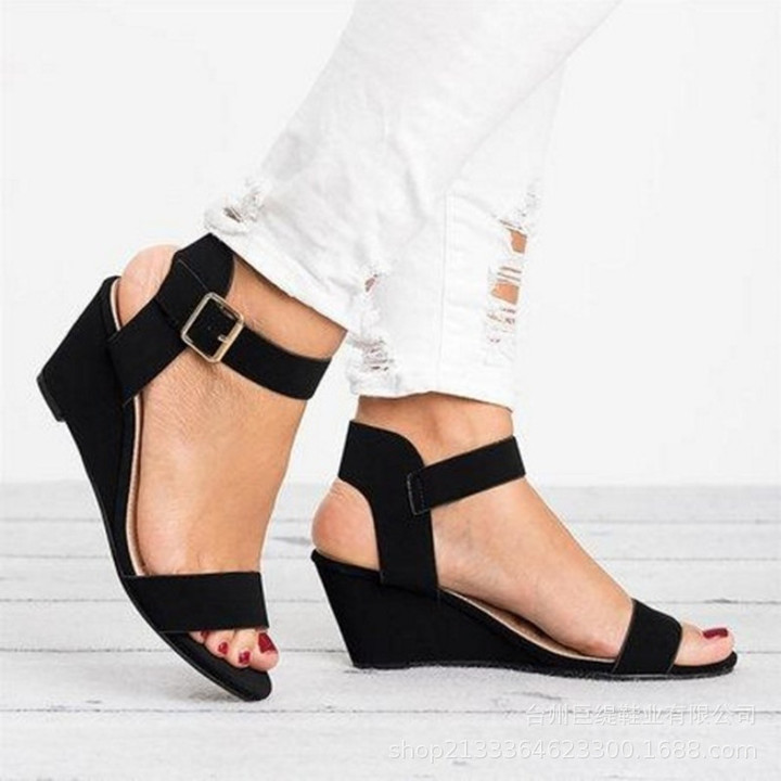 Shoes For Women 2019 Women Wedge Shoes Ladies Sandals buckles plus size  sandals female black 35