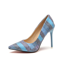 Shoes for women High Heel Stiletto Pointed Shoes Color Matching  Pumps Office sexy and versatile blue 39