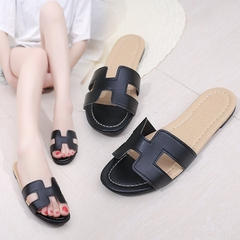 Shoes for women Slippers Flip Flops PU female Sandals flat heel Home Slippers Casual Slides Shoes black 36