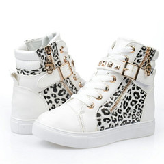 Shoes for women Fashion Boots Rivet high-top canvas Velcro flat sport shoes Casual Sneakers white leopard 38