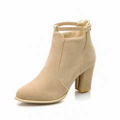 Shoes for women British style chunky high-heeled boots versatile rear zipper plus-size Martin boots apricot 40