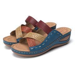 Shoes shoes women shoes Casual sandals Cross toe wedges Sandals ladies wedge shoes Blue 40