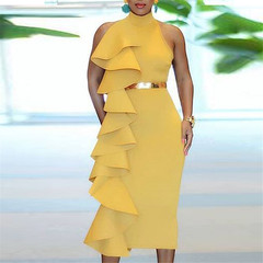 2019 plus-size ladies ruffled solid color dress for dinner yellow s