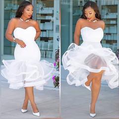 Sexy strapless strapless strapless gauze see-through skirt with fishtail white s