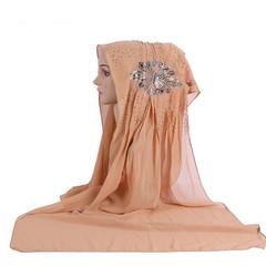 Ethnic wind turban stick diamond flower Muslim scarf cover women turban 2 color