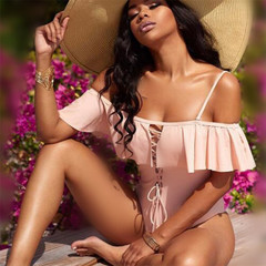 Feminine one-shoulder bikini with flounce strap one-piece pink s