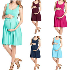 Large women's round neck slim sleeveless vest stretch maternity dress the light blue s