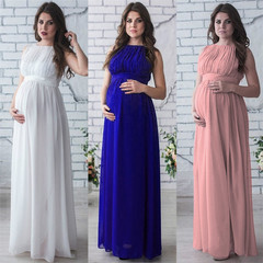 In women's fashion, sleeveless, sleeveless, round-necked, long maternity chiffon dress blue s
