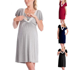 Fashionable lace patchwork maternity pajamas nursing dress for nursing mothers gray s