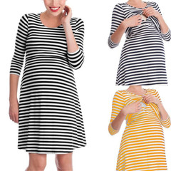 New cotton striped moon dress maternity nursing dress pajamas bright orange s