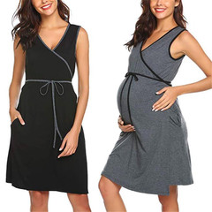 New maternity sleeveless nursing dress breastfeeding pajamas gray s