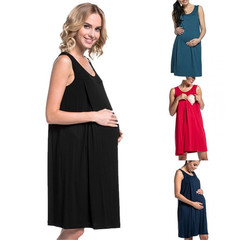 2019 maternity pyjamas plain breastfeeding dress green s