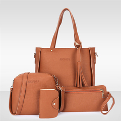 New promotions in 2019, limited to 50, 4pcs/Set Tassels Composite Bag Women Handbag Tote Soft PU Lea Camel One size