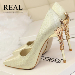 REAL Limited promotion Silk metal flower shallow shoes high heel women's shoes pointed light high gold 34