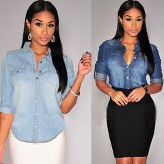 Casual denim top spring long sleeve loose slim jeans shirt denim dress blouse dark blue S
