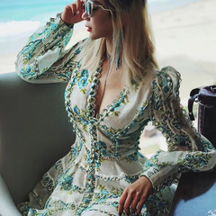 2019 new women's high quality puffy sleeve sexy v-neck button print holiday dress s green