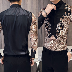 Royal shirt for men casual slim long sleeve printed shirt dance party shirt The picture s