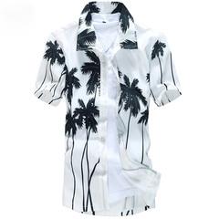 Summer 2019 shirt men's leisure beach slim fashion floral coconut brown print shirt white L