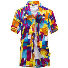 Summer 2019 shirt men's leisure beach slim fashion floral coconut brown print shirt yellow L