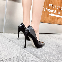 2019 new pointy 8cm 10cm 12cm stilettos with sexy patent leather black stilettos black 35