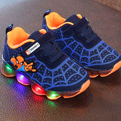 Camouflage boy fly knit casual bottom running shoes anti - slip shoes shoes blue Length: 13.5cm within 21 yards