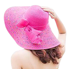 Hat ladies sun block uv beach bow hat spring/summer hat red