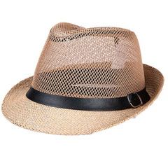 Men's summer cowboy net eyelet big eave outdoor travel sun hat khaki M(56-58)