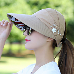 Hat summer sun hat folding sun hat cycling sun hat pearl flower hat summer sun hat beach hat khaki