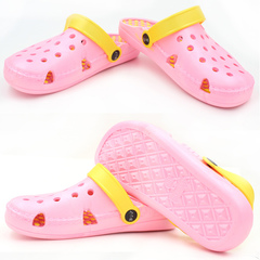2019 Korean version of cute cartoon couple female crocs nest female one word beach slippers pink 40