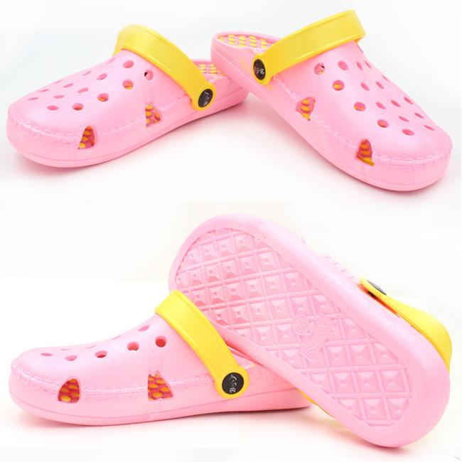 2019 Korean version of cute cartoon couple female crocs nest female one word beach slippers pink 40
