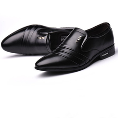 Casual business shoes for men pointed shoes high fashion dress shoes for men British shoes black 38