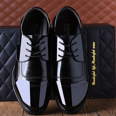 2019 new inside heightening men's shoes dress shoes business casual shoes black 38