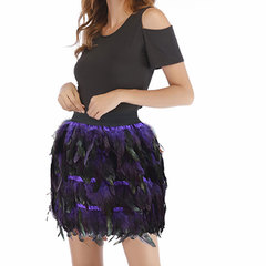 Costume jazz dance luxurious peacock feather skirt stage outfit irregular skirt purple S