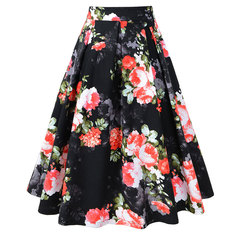 Retro Hepburn black bottom red flower print pleated skirt women's full skirt black s