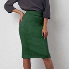 2019 skirt for women spring/summer new deerskin slimming solid color mid-length skirt green s