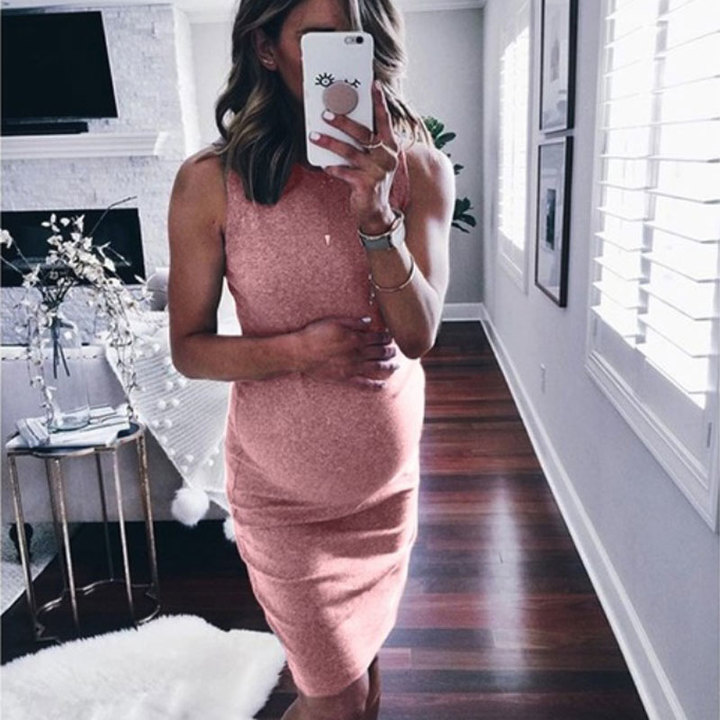 New sleeveless round-neck maternity dress for summer 2019 m pink