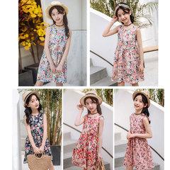 2019 summer floral skirt new cuhk cotton sundress Korean version girl princess dress navy 100 yards